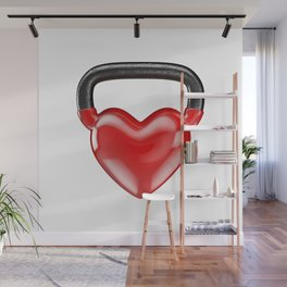 Kettlebell heart vinyl / 3D render of heavy heart shaped kettlebell Wall Mural
