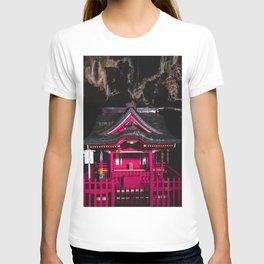 Pink Japanese Shrine hidden inside a Cave | Cyberpunk T-shirt