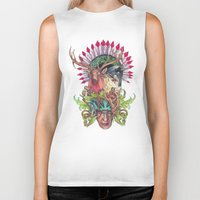totem Biker Tanks featuring Totem by RAZTINE