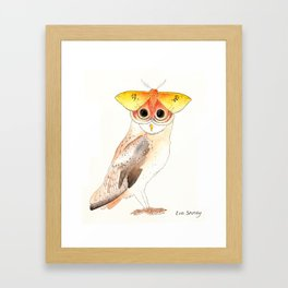Barn Owl and Io Moth Framed Art Print