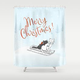 Christmas Cats on the Sleigh Shower Curtain