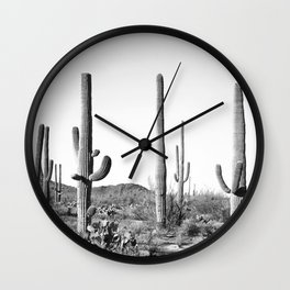Grey Cactus Land Wall Clock