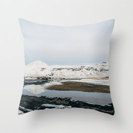 Iceland Mountain Reflection Throw Pillow