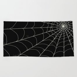 Spiderweb on Black Beach Towel