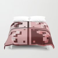 mario bros Duvet Covers featuring Sepia ? Question mark Super Mario Bros. blocks by Rebekhaart