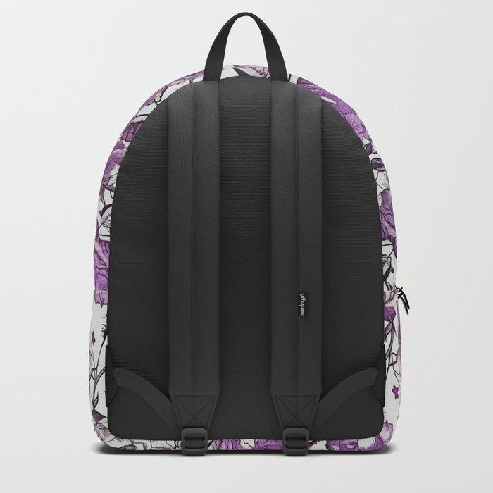 Purple Vintage Retro Flower Pattern Backpack