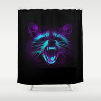 raccoon Shower Curtains featuring Raccoon by Asya Solo