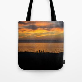 Sunrise with Penguins Tote Bag