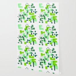 Colorful Green Minimalist Abstract Mid Century Modern Pattern Geometric Fun Art Wallpaper
