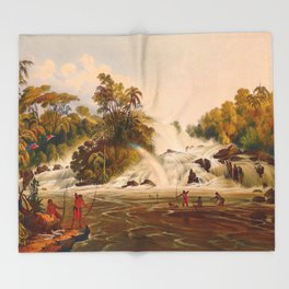 Junction Of The Kundanama Illustrations Of Guyana South America Natural Scenes Hand Drawn Throw Blanket