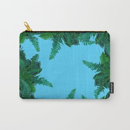 GREEN & BABY BLUE  FERN LEAVES ART Carry-All Pouch