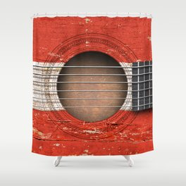 Old Vintage Acoustic Guitar with Austrian Flag Shower Curtain