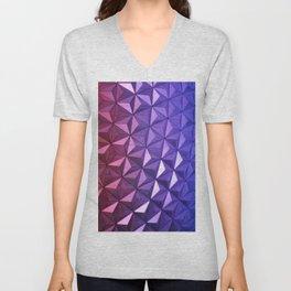 Purple & Pink Modern Art Unisex V-Neck