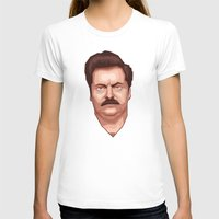 swanson T-shirts featuring Swanson by Skeleton Jack