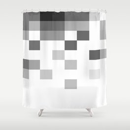 Gray Scale In Pixels Shower Curtain