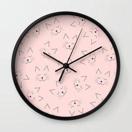 Cute Girly Black Kitty Cat Face Pink Pattern Wall Clock