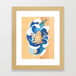 One With The Waves - Ocean, surfing, mindfulness Framed Art Print