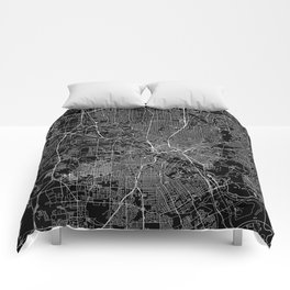 Dallas Black Map Comforters