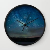 milky way Wall Clocks featuring Milky Way by Kassie Jackson