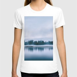 Peaceful blue morning in the crystal clear waters of the river T-shirt