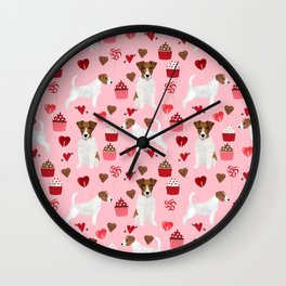 Jack Russell Terrier valentines day cupcakes and hearts love pattern gifts for dog lovers Wall Clock