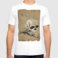 Skull Two White MEDIUM Mens Fitted Tee