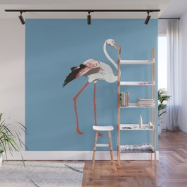 Fenicottero su fondo blu Wall Mural