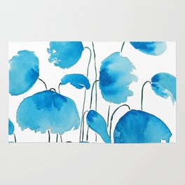 blue poppy field watercolor Rug