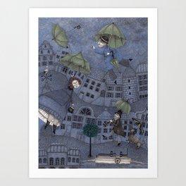 Monsieur Millet's Umbrellas Art Print