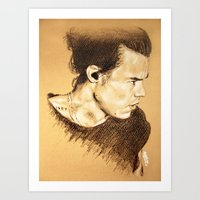 harry styles Art Prints featuring Harry Styles by Drawpassionn