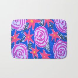 Classic Pink and Blue Floral Bath Mat