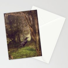 Raven in forest Stationery Cards