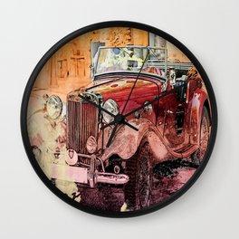 Watercolor Roadster Wall Clock