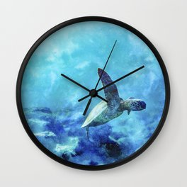 Sea Turtle Into The Deep Blue Wall Clock