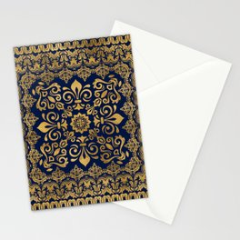 Oriental Damask Ornament - Gold on dark blue #1 Stationery Cards