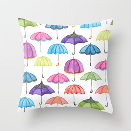 Rainy Day Umbrellas Throw Pillow