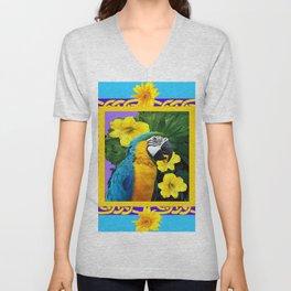 Tropical Blue & Gold Macaw Parrot Purple Art Unisex V-Neck