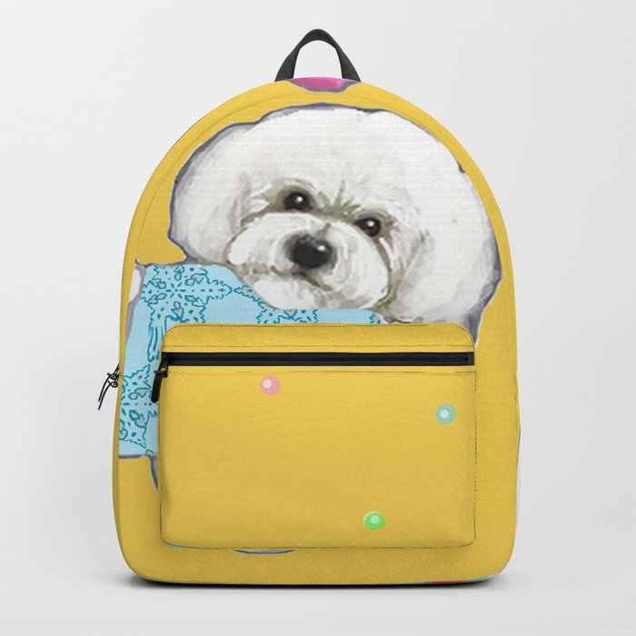 Bichon Frise Holidays yellow cute dogs, Christmas gift, holiday gift, birthday gift, dog, Bijon Backpack