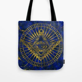 All Seeing Mystic Eye in Masonic Compass on Lapis Lazuli Tote Bag