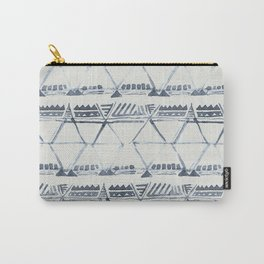 Simply Tribal Shibori in Indigo Blue on Lunar Gray Carry-All Pouch
