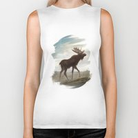 moose Biker Tanks featuring Moose by Alex Perkins