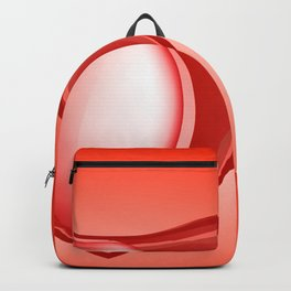 Icon hearts. Metal volume red heart with highlights on a red background Backpack
