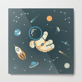 Lil Astronaut Pattern (8bit) Metal Print