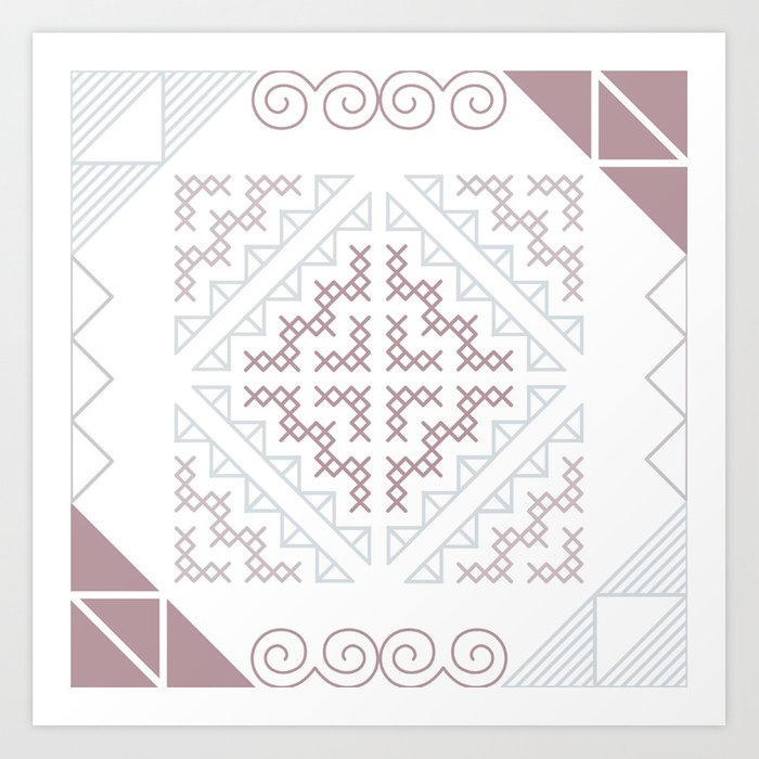 Tribal Hmong Embroidery Art Print By Rosesandbliss Society6