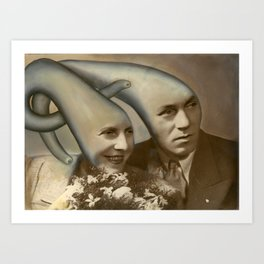 NoodleHeadz - Oil Paint on top of old vintage photography Art Print