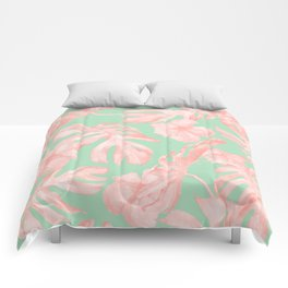 Tropical Palm Leaves Hibiscus Pink Mint Green Comforters