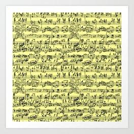 Hand Written Sheet Music // Canary Yellow Art Print