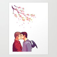 cherry blossoms Art Prints featuring Cherry Blossoms by brightfallenstars