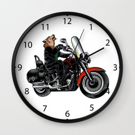 Wolf on the motorcycle Wall Clock
