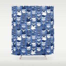 Swedish folk cats I // Indigo blue background Shower Curtain